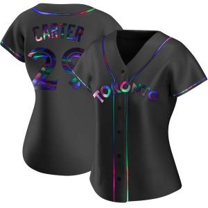 Joe Carter Toronto Blue Jays Women's Replica Alternate Jersey - Black Holographic