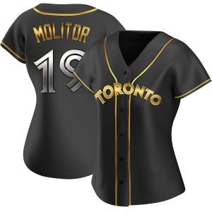 Paul Molitor Toronto Blue Jays Women's Replica Alternate Jersey - Black Golden