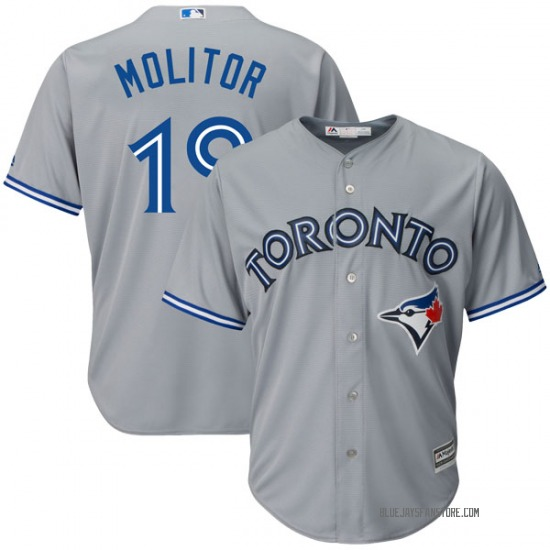 Paul Molitor Toronto Blue Jays Youth Authentic Cool Base Road Majestic Jersey - Gray