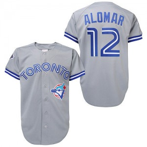 Roberto Alomar Toronto Blue Jays Authentic Throwback Mitchell and Ness Jersey - Grey
