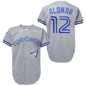 Roberto Alomar Toronto Blue Jays Replica Throwback Mitchell and Ness Jersey - Grey