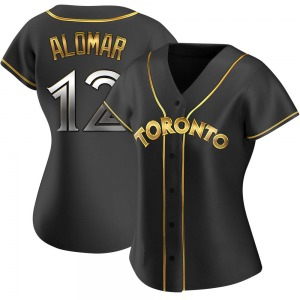Roberto Alomar Toronto Blue Jays Women's Replica Alternate Jersey - Black Golden