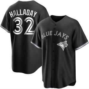 Roy Halladay Toronto Blue Jays Replica Black/ Jersey - White