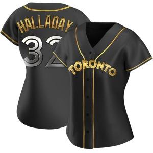 Roy Halladay Toronto Blue Jays Women's Replica Alternate Jersey - Black Golden