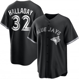 Roy Halladay Toronto Blue Jays Youth Replica Black/ Jersey - White