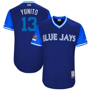 "Lourdes Gurriel Jr. Toronto Blue Jays Youth Authentic ""YUNITO"" Royal/ 2018 Players' Weekend Flex Base Majestic Jersey - Light Bl"