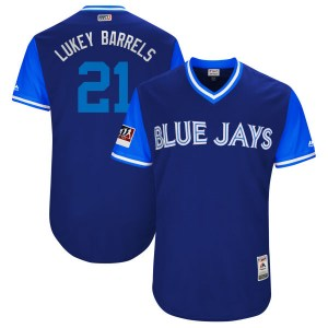 "Luke Maile Toronto Blue Jays Authentic ""LUKEY BARRELS"" Royal/ 2018 Players' Weekend Flex Base Majestic Jersey - Light Blue"