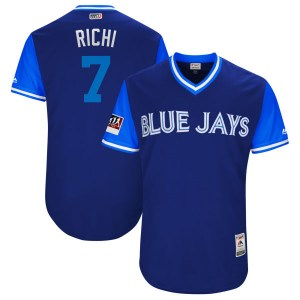 "Richard Urena Toronto Blue Jays Youth Authentic ""RICHI"" Royal/ 2018 Players' Weekend Flex Base Majestic Jersey - Light Blue"