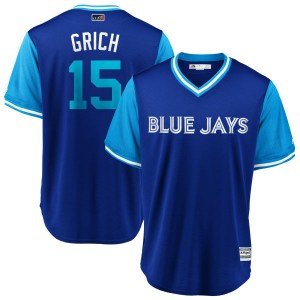 "Randal Grichuk Toronto Blue Jays Youth Replica ""GRICH"" Royal/ 2018 Players' Weekend Cool Base Majestic Jersey - Light Blue"