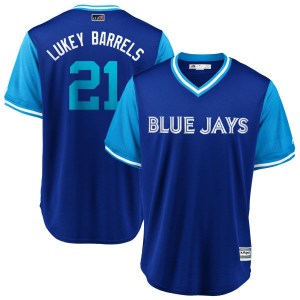 "Luke Maile Toronto Blue Jays Youth Replica ""LUKEY BARRELS"" Royal/ 2018 Players' Weekend Cool Base Majestic Jersey - Light Blue"