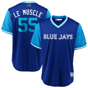 "Russell Martin Toronto Blue Jays Youth Replica ""LE MUSCLE"" Royal/ 2018 Players' Weekend Cool Base Majestic Jersey - Light Blue"