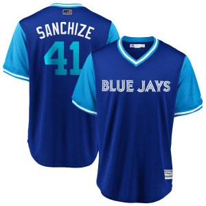 "Aaron Sanchez Toronto Blue Jays Youth Replica ""SANCHIZE"" Royal/ 2018 Players' Weekend Cool Base Majestic Jersey - Light Blue"