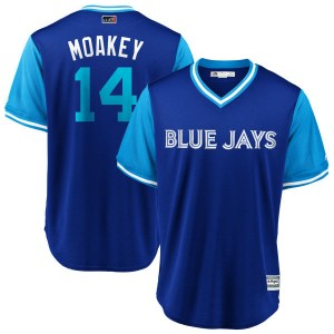 "Justin Smoak Toronto Blue Jays Youth Replica ""MOAKEY"" Royal/ 2018 Players' Weekend Cool Base Majestic Jersey - Light Blue"