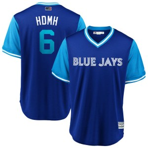 """Marcus Stroman Toronto Blue Jays Youth Replica """"HDMH"""" Royal/ 2018 Players' Weekend Cool Base Majestic Jersey - Light Blue"""