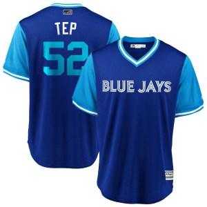"Ryan Tepera Toronto Blue Jays Youth Replica ""TEP"" Royal/ 2018 Players' Weekend Cool Base Majestic Jersey - Light Blue"