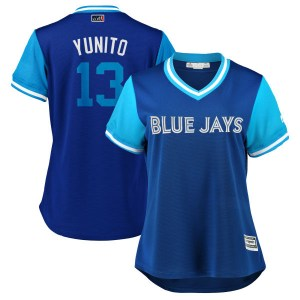 "Lourdes Gurriel Jr. Toronto Blue Jays Women's Replica ""YUNITO"" Royal/ 2018 Players' Weekend Cool Base Majestic Jersey - Light Bl"