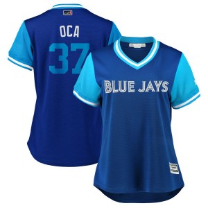 "Teoscar Hernandez Toronto Blue Jays Women's Replica ""OCA"" Royal/ 2018 Players' Weekend Cool Base Majestic Jersey - Light Blue"