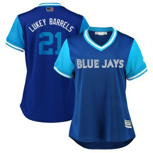 "Luke Maile Toronto Blue Jays Women's Replica ""LUKEY BARRELS"" Royal/ 2018 Players' Weekend Cool Base Majestic Jersey - Light Blue"