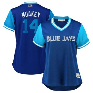 "Justin Smoak Toronto Blue Jays Women's Replica ""MOAKEY"" Royal/ 2018 Players' Weekend Cool Base Majestic Jersey - Light Blue"