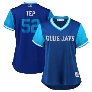 "Ryan Tepera Toronto Blue Jays Women's Replica ""TEP"" Royal/ 2018 Players' Weekend Cool Base Majestic Jersey - Light Blue"