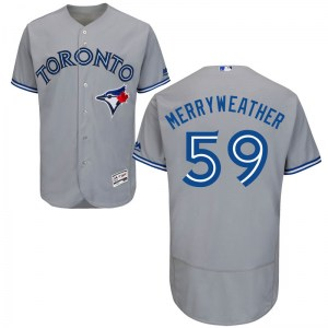 Julian Merryweather Toronto Blue Jays Authentic Flex Base Road Collection Majestic Jersey - Gray