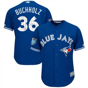 Clay Buchholz Toronto Blue Jays Youth Replica Cool Base 2018 Spring Training Majestic Jersey - Royal