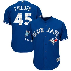 Cecil Fielder Toronto Blue Jays Youth Replica Cool Base 2018 Spring Training Majestic Jersey - Royal
