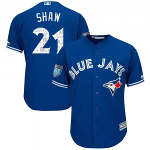 Travis Shaw Toronto Blue Jays Youth Replica Cool Base 2018 Spring Training Majestic Jersey - Royal