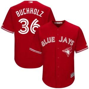 Clay Buchholz Toronto Blue Jays Youth Replica Cool Base Alternate Majestic Jersey - Scarlet