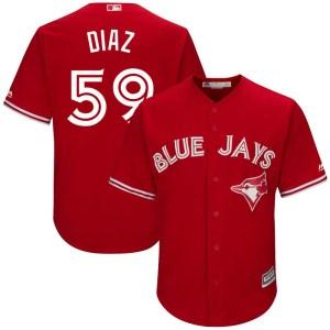 Yennsy Diaz Toronto Blue Jays Youth Replica Cool Base Alternate Majestic Jersey - Scarlet