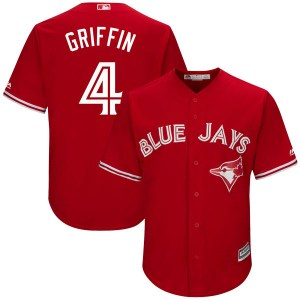 Alfredo Griffin Toronto Blue Jays Youth Replica Cool Base Alternate Majestic Jersey - Scarlet