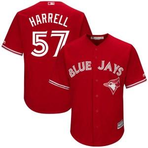 Lucas Harrell Toronto Blue Jays Youth Replica Cool Base Alternate Majestic Jersey - Scarlet