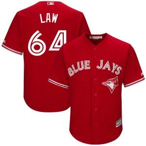Derek Law Toronto Blue Jays Youth Replica Cool Base Alternate Majestic Jersey - Scarlet