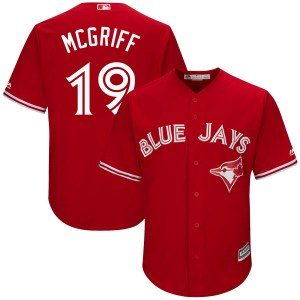 Fred Mcgriff Toronto Blue Jays Youth Replica Cool Base Alternate Majestic Jersey - Scarlet