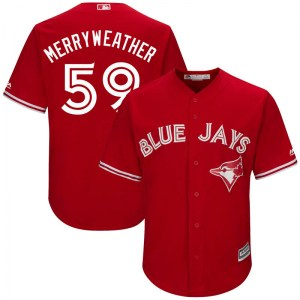 Julian Merryweather Toronto Blue Jays Youth Replica Cool Base Alternate Majestic Jersey - Scarlet