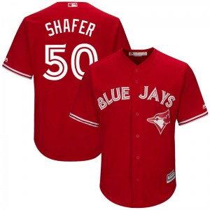 Justin Shafer Toronto Blue Jays Youth Replica Cool Base Alternate Majestic Jersey - Scarlet