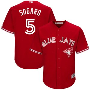 Eric Sogard Toronto Blue Jays Youth Replica Cool Base Alternate Majestic Jersey - Scarlet
