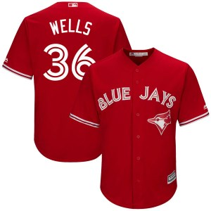 David Wells Toronto Blue Jays Youth Replica Cool Base Alternate Majestic Jersey - Scarlet