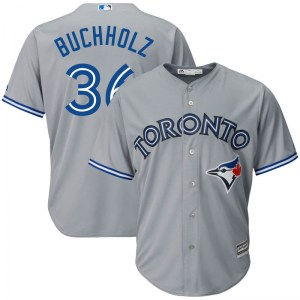 Clay Buchholz Toronto Blue Jays Youth Replica Cool Base Road Majestic Jersey - Gray