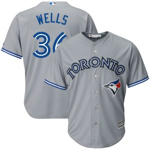 David Wells Toronto Blue Jays Youth Replica Cool Base Road Majestic Jersey - Gray