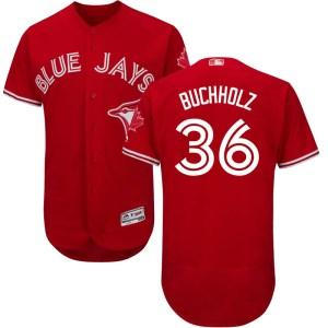 Clay Buchholz Toronto Blue Jays Youth Authentic Flex Base Alternate Collection Majestic Jersey - Scarlet