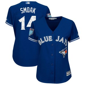 Justin Smoak Toronto Blue Jays Women's Replica Cool Base 2018 Spring Training Majestic Jersey - Royal