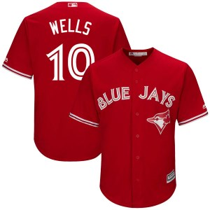 Vernon Wells Toronto Blue Jays Youth Authentic Cool Base Alternate Majestic Jersey - Scarlet