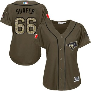 Justin Shafer Toronto Blue Jays Women's Replica Salute to Service Majestic Jersey - Green