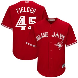 Cecil Fielder Toronto Blue Jays Replica Cool Base Alternate Majestic Jersey - Scarlet