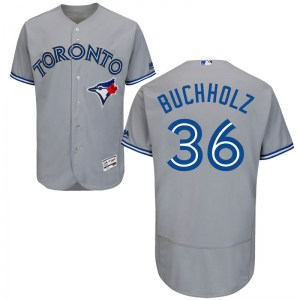 Clay Buchholz Toronto Blue Jays Youth Authentic Flex Base Road Collection Majestic Jersey - Gray