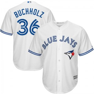 Clay Buchholz Toronto Blue Jays Youth Replica Cool Base Home Majestic Jersey - White