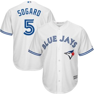 Eric Sogard Toronto Blue Jays Youth Replica Cool Base Home Majestic Jersey - White