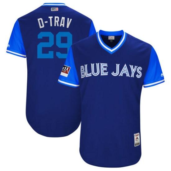 "Devon Travis Toronto Blue Jays Youth Authentic ""D-TRAV"" Royal/ 2018 Players' Weekend Flex Base Majestic Jersey - Light Blue"