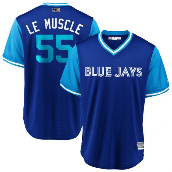 """Russell Martin Toronto Blue Jays Replica """"LE MUSCLE"""" Royal/ 2018 Players' Weekend Cool Base Majestic Jersey - Light Blue"""